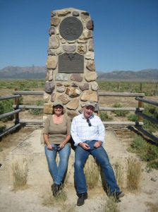 Patrick Hearty and Lizzi at Rush Valley (Faust's) Pony Express Station monument, out of Grantsville, Utah.