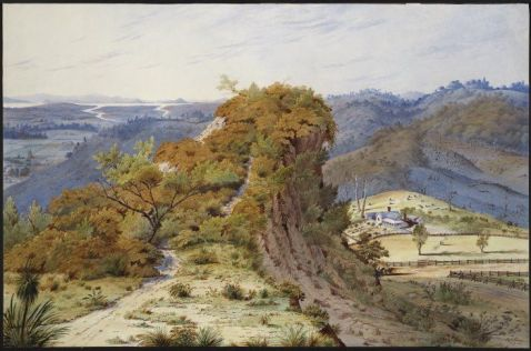 Maketu Rock, maketu pa, by Alfred Sharp :View of the rock of Maketu, near Drury, NZ. 1880. Alexander Turnbull Library, Wellington, NZ. Ref. Number: D-033-007 The centre foreground shows the site of an ancient pa of the Waiohua people, with a view of the southern approach to the Manukau Harbour and Auckland isthmus. A track leads on to the wooded promontory from the left foreground. Beyond the rock and to the right of it is a settler's farmhouse showing fenced fields, tree stumps, and rows of garden plantings. Two figures on horseback ride on the road at the base of the promontory, near the farm, and a woman and child stand in the centre of a nearby field. In the left distance, two rivers flow away into the Manakau Harbour and the Waitakere Ranges appear on the far horizon.The light effects and appearance of the sky indicate that the time is shortly before sunset used with permission : http://mp.natlib.govt.nz/detail/?id=60022