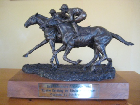 The Jonathan Hope Award...won with the three part series entitled Equine Dentistry, published originally in Vetscript. Click on the link below to see the article PFDs in their entirety on my veterinary webpage.