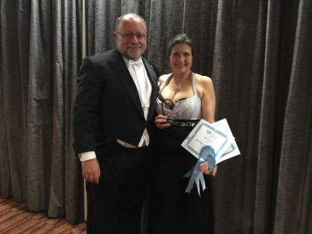 Accepting the Koru Awards! Another lovely trophy to go with the Pacific Hearts one! Thank you, RWNZ!